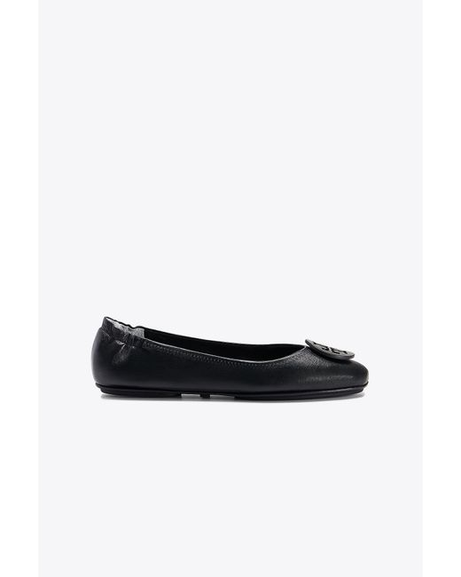 Tory Burch - Black Minnie Travel Leather Ballet Flats - Lyst