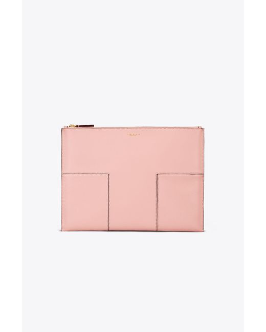 Tory Burch   Pink Block-t Travel Large Pouch   Lyst