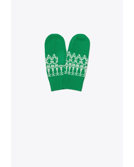 Tory Sport - Green Tory Burch Merino Fair Isle Mittens - Lyst