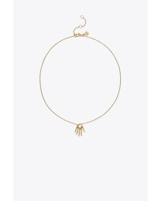 Tory Burch - Metallic Surreal Hand Delicate Pendant Necklace - Lyst
