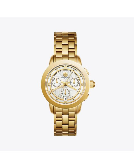 Tory Burch - Metallic Tory Watch, Gold-tone/ivory Chronograph, 37 Mm - Lyst