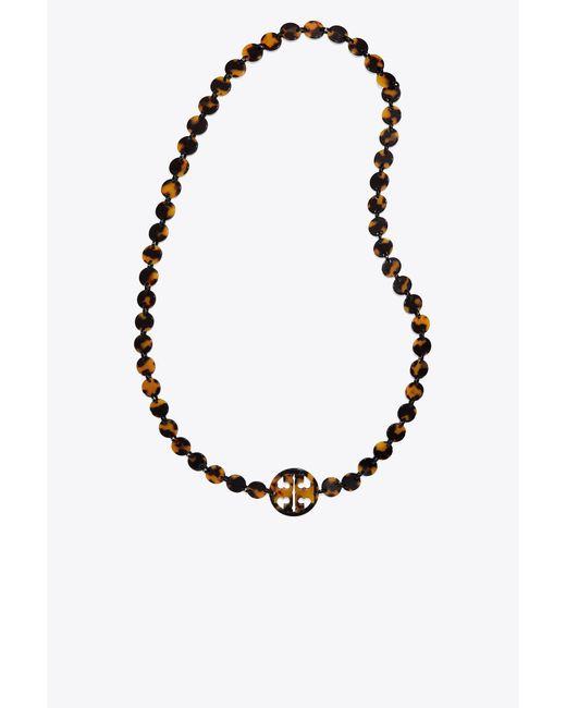 Tory Burch - Metallic Resin Logo Necklace - Lyst