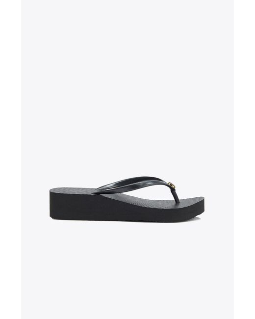 Tory Burch - Black Carved Wedge Flip-flop - Lyst