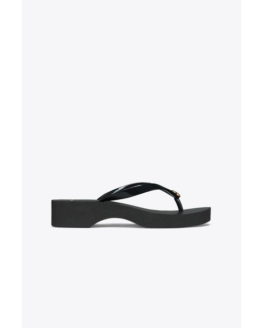 c2c8ec66cb4d51 Tory Burch - Black Carved Wedge Flip-flop - Lyst ...