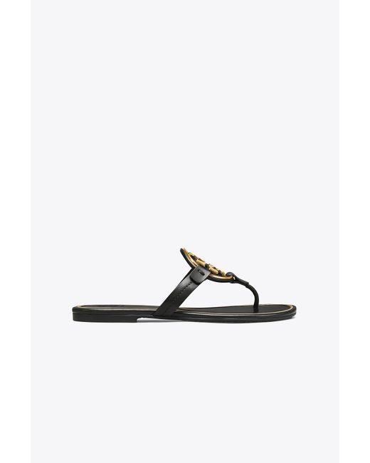 Tory Burch - Black Miller Metal-logo Sandal, Leather - Lyst