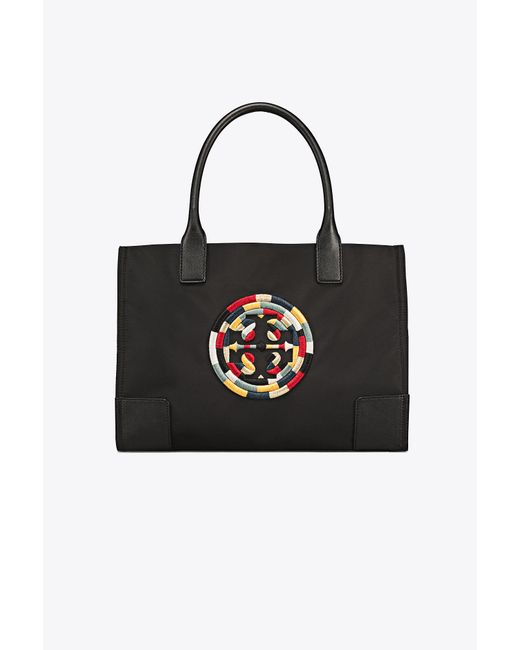 Tory Burch - Black Ella Embroidered Mini Tote - Lyst