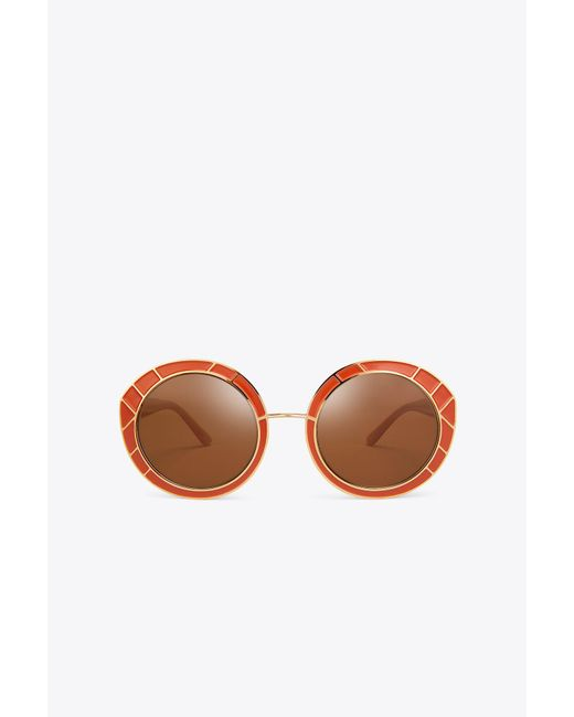 Tory Burch - Orange Metal-trim Round Sunglasses - Lyst