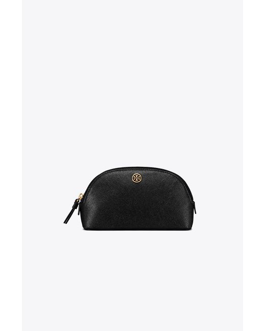 Tory Burch - Black Robinson Small Saffiano Leather Makeup Pouch - Lyst