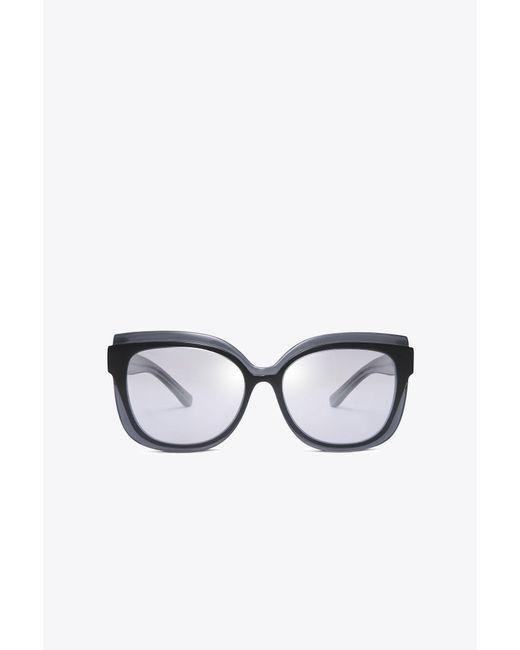 Tory Burch | Gray Mixed-materials Sunglasses | Lyst