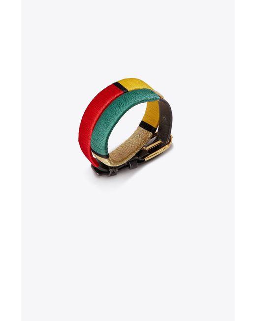 Tory Burch - Black Striped Raffia Double-wrap Bracelet - Lyst