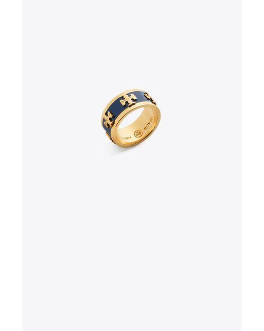 Tory Burch - Multicolor Enameled Logo Ring - Lyst