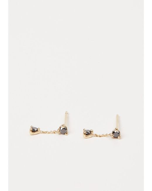 Wwake - Metallic Yellow Gold / Black Diamond Small Two-step Chain Earrings - Lyst