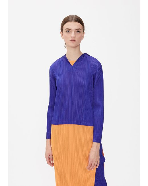Pleats Please Issey Miyake Blue Glass Colors Hooded Top