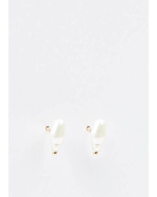 Wwake   Metallic Irregular Pearl Earrings   Lyst