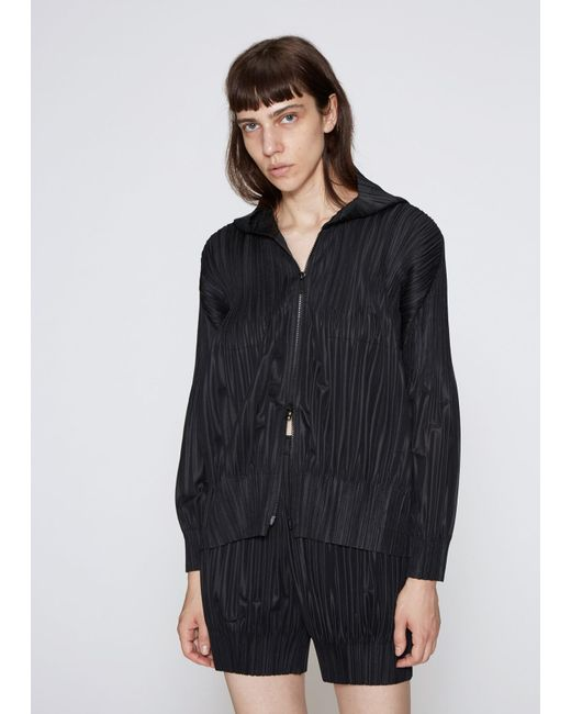 Pleats Please Issey Miyake - Black Fluffy Pleat Hooded Jacket - Lyst