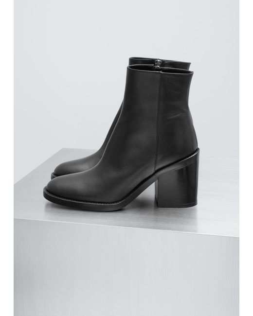 Ann Demeulemeester | Vitello Lux Black Classic Heeled Boot | Lyst