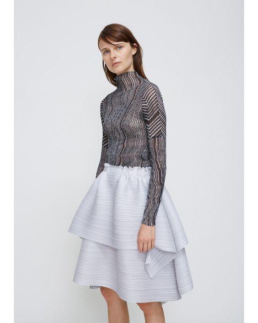 Pleats Please Issey Miyake | Gray Light Grey Double Layer Skirt | Lyst