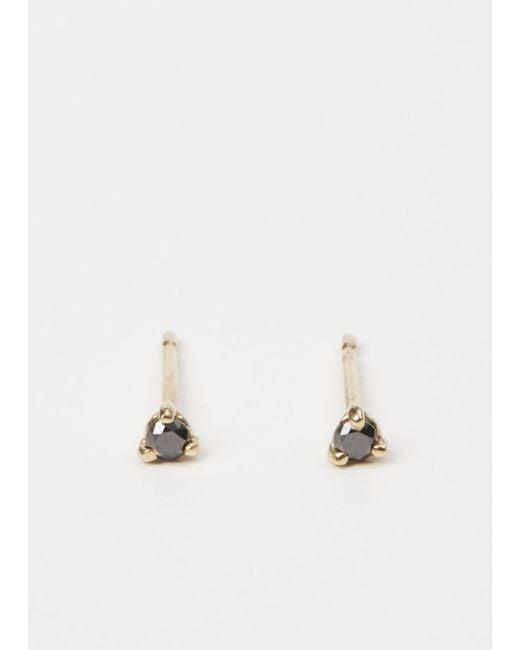 lyst wwake yellow gold black diamond small stud earrings in