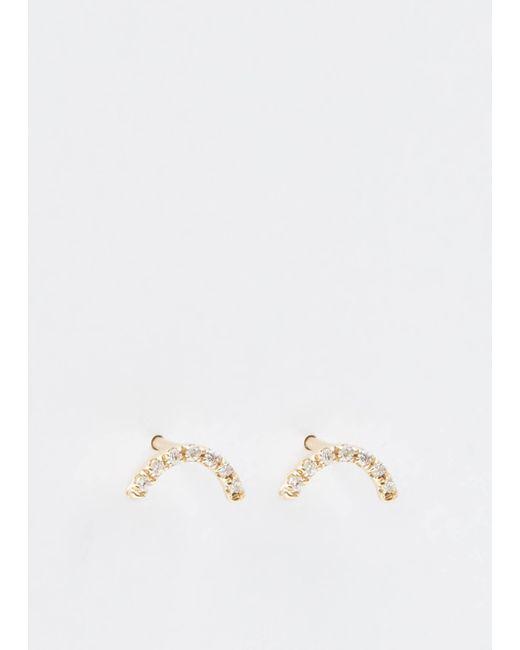 Wwake - Metallic Micropave Arc Earrings - Lyst
