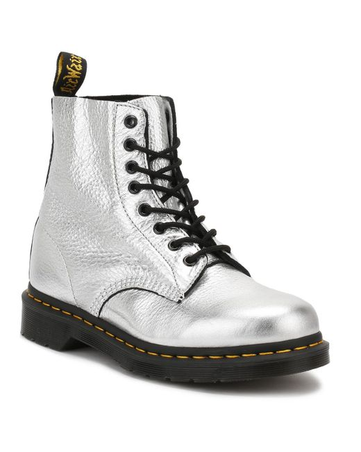 Dr. Martens | Metallic Dr. Martens Womens Silver Santos Pascal Boots | Lyst