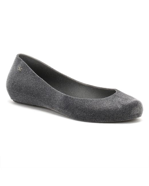 Zaxy | Gray Womens Dark Grey Pop Flock Ii Ballerina Flats | Lyst