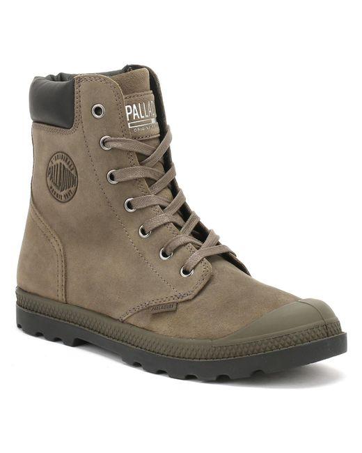 Palladium - Womens Major Brown Knit Pampa Hi Cuff Boots Women's Mid Boots In Brown - Lyst
