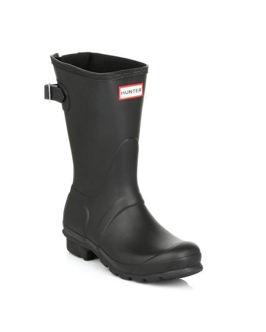 Hunter - Original Short Black Back Adjust Wellington Boots - Lyst