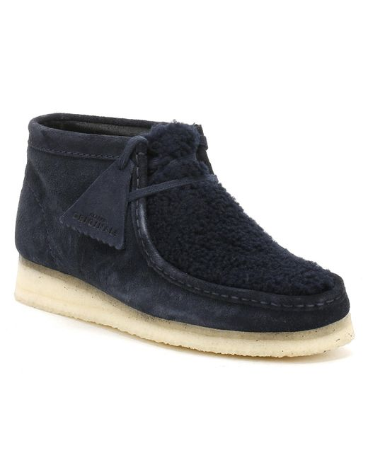 Clarks - Womens Navy Suede Wallabee Boots Women's Mid Boots In Blue - Lyst