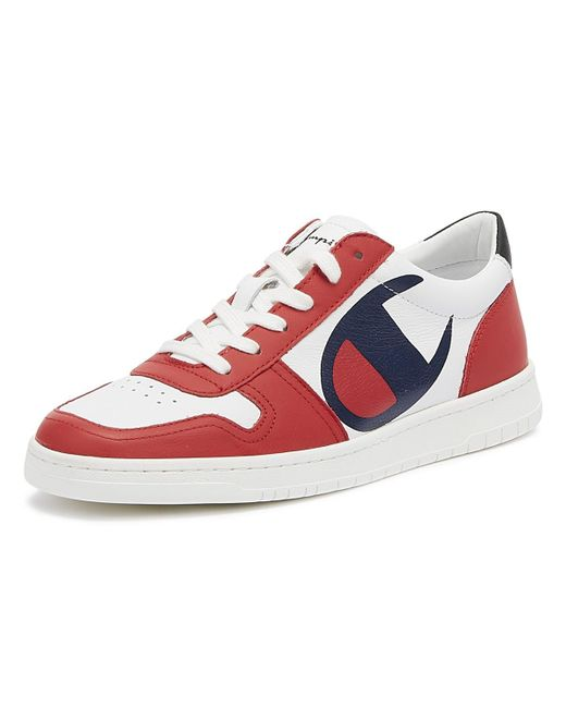 dd75463e7b6bd ... Champion - 919 Roch Low Mens White   Red Trainers for Men - Lyst ...