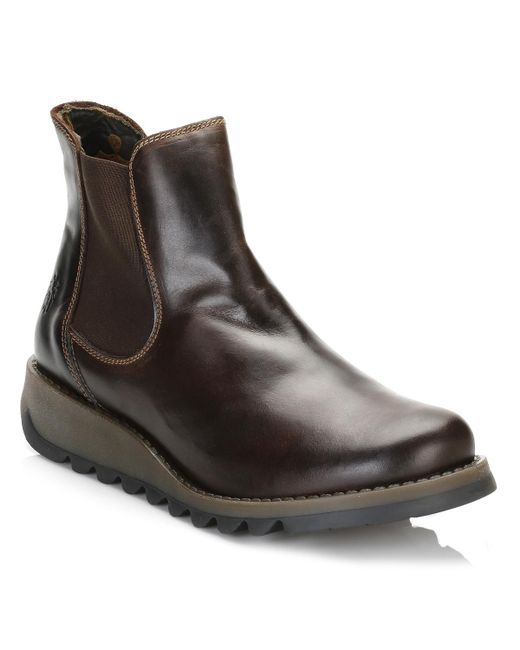 Fly London - Womens Dark Brown Salv Leather Boots - Lyst