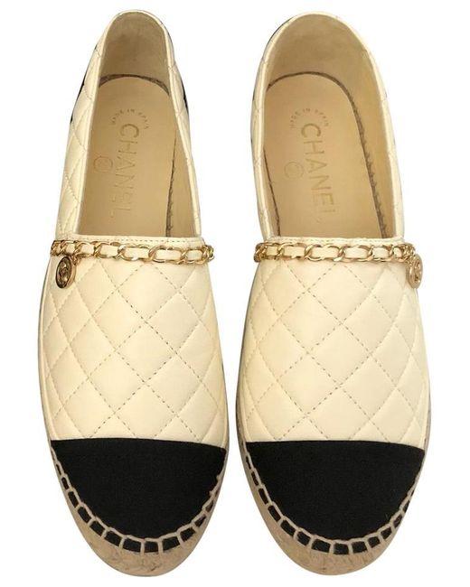 grande sconto nuovo stile grandi affari Chanel Leather Ivory & Black Quilted Espadrilles Flats in White - Lyst