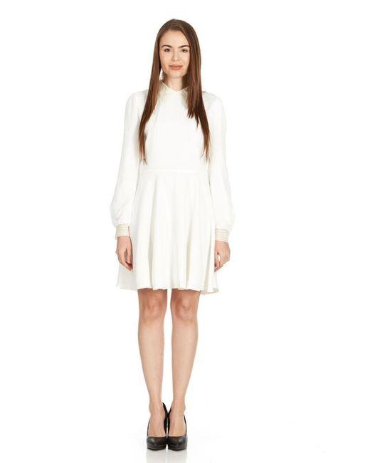 Womens White Lace Collar Long Sleeve U668 Formal Dress