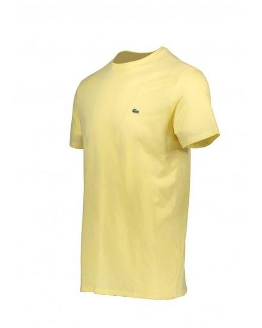 46d248b109 ... Lacoste - Yellow Logo Tee for Men - Lyst ...