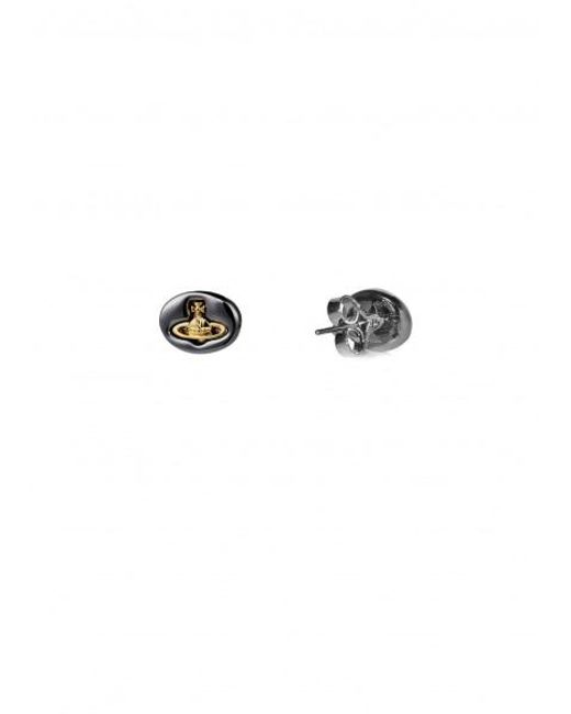 16638786e ... Vivienne Westwood - Metallic Embossed Logo Stud Earrings - Lyst