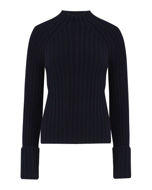 Vince - Blue Button Cuff Mock Neck Jumper In Coastal - Lyst