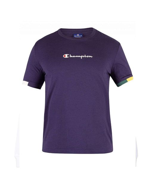 b671e6ef3242 ... Champion - Purple Colour Block Trim Script Logo T-shirt Navy for Men -  Lyst