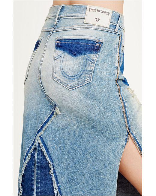 true religion pieced denim womens skirt in blue lyst