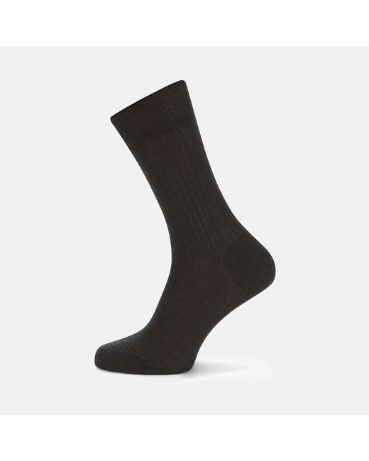 Turnbull & Asser | Black Dark Grey Short Pure Cotton Socks for Men | Lyst