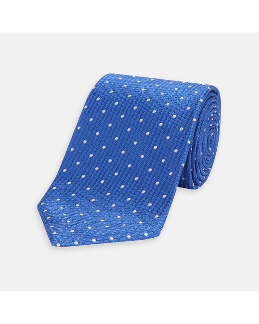 Turnbull & Asser - Royal Blue And White Spot Lace Silk Tie for Men - Lyst