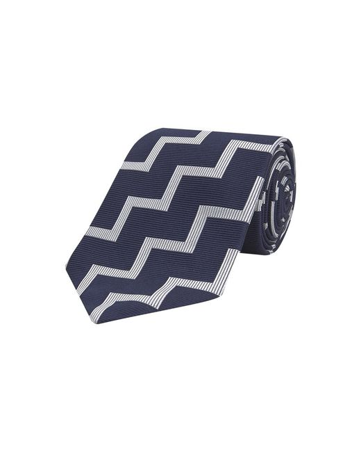 Turnbull & Asser Blue Navy And White Striped Zigzag Silk Tie for men