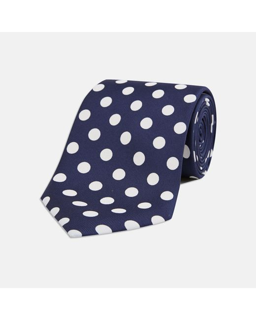 Turnbull & Asser - Multicolor Navy And White Large Spot Silk Tie for Men - Lyst