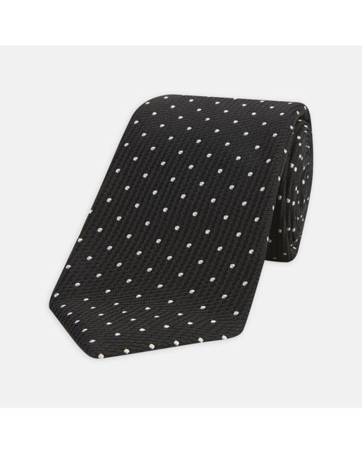 Turnbull & Asser - Seven-fold Black And White Spot Lace Silk Tie for Men - Lyst