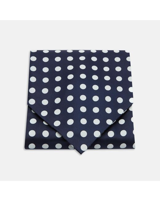 Turnbull & Asser - Black Navy And White Large Spot Silk Ascot Tie for Men - Lyst