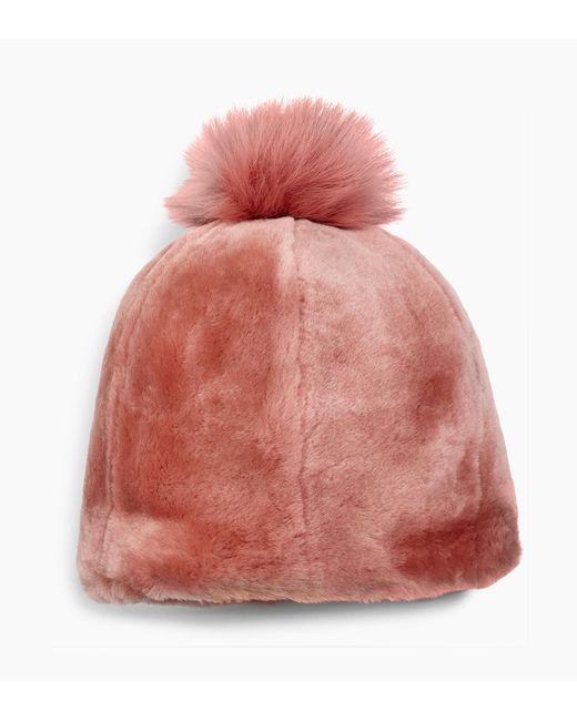 Ugg - Pink Solid Sheepskin Beanie Solid Sheepskin Beanie - Lyst ... e98f35dc995a