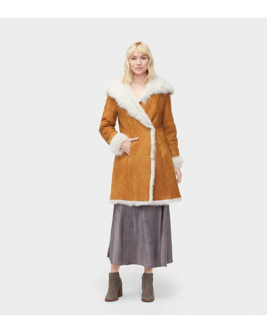 Ugg - Brown Vanesa Oversized Lamb Shearling Coat - Lyst