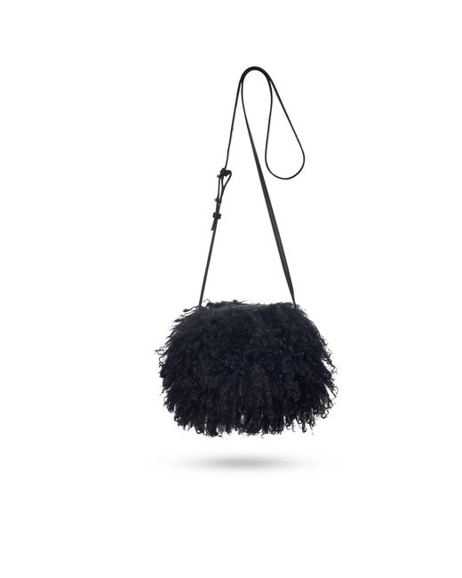 Ugg - Black Women's Mongolian Pom Pom Crossbody Bag - Lyst