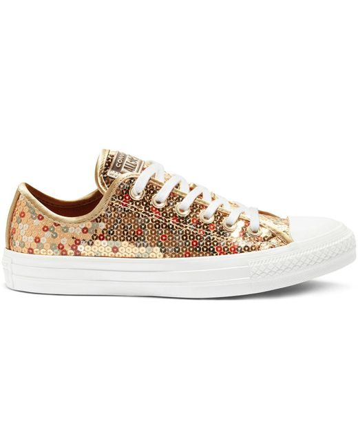 36cc13a91946 Converse - Metallic Chuck Taylor All Star Holiday Scene Sequin Trainers  Gold - Lyst ...