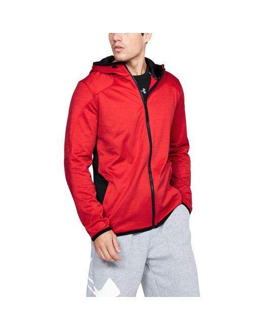 Under Armour | Red Men's Coldgear® Reactor Fleece Full Zip Hoodie for Men | Lyst