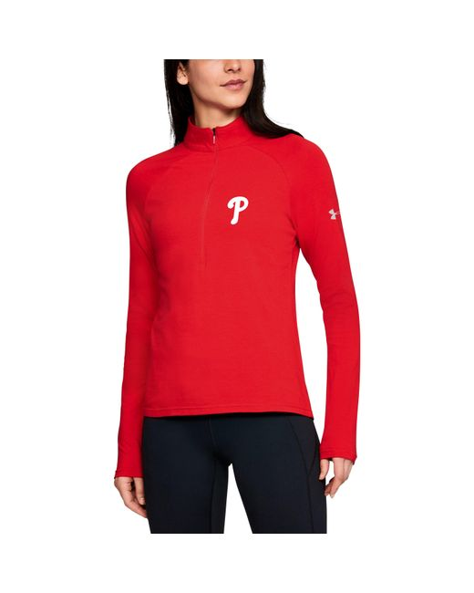 Under Armour - Red Women's Mlb Ua Left Chest 1⁄2 Zip - Lyst