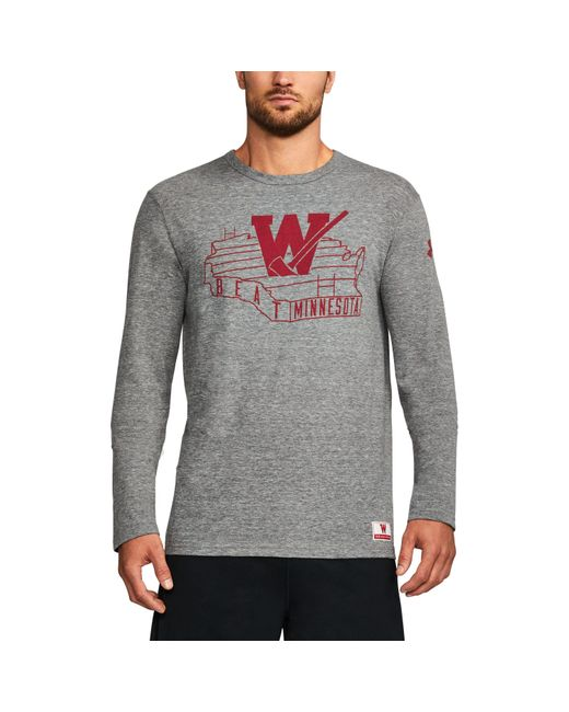 Under Armour | Gray Men's Wisconsin Ua Iconic Tri-blend Long Sleeve T-shirt for Men | Lyst